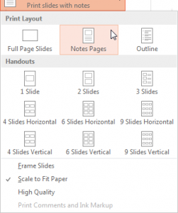 Print layout with Notes pages selected