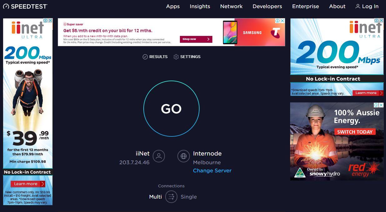 A screen capture of the Speedtest website.